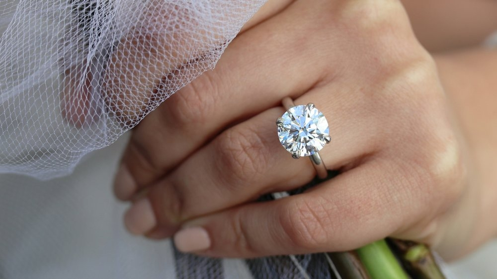hand with a solitaire diamond ring on wedding ring finger