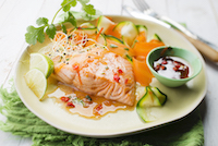 Steamed sweet chilli salmon