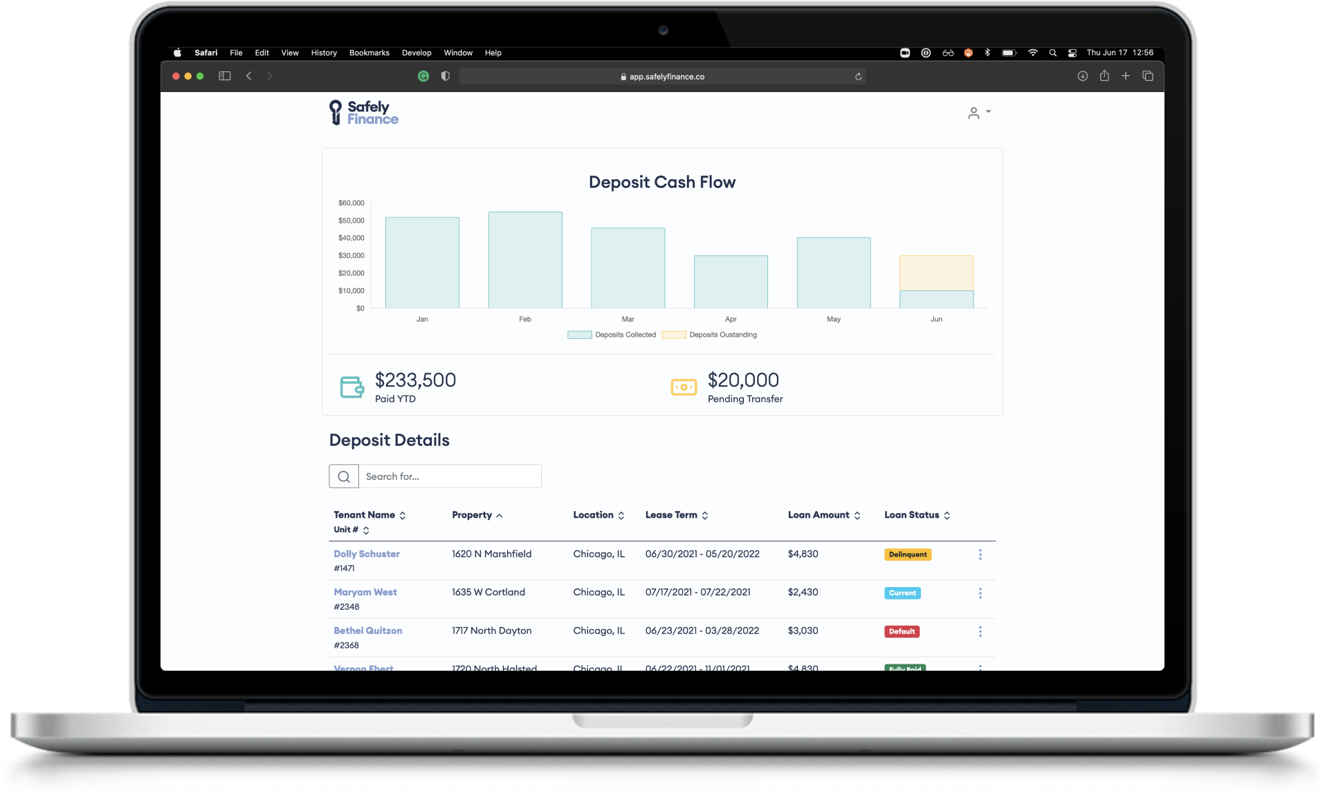 """Safely Finance Security Deposit and Fees Property Dashboard displayed on a 13"""" MacBook laptop in a web browser"""
