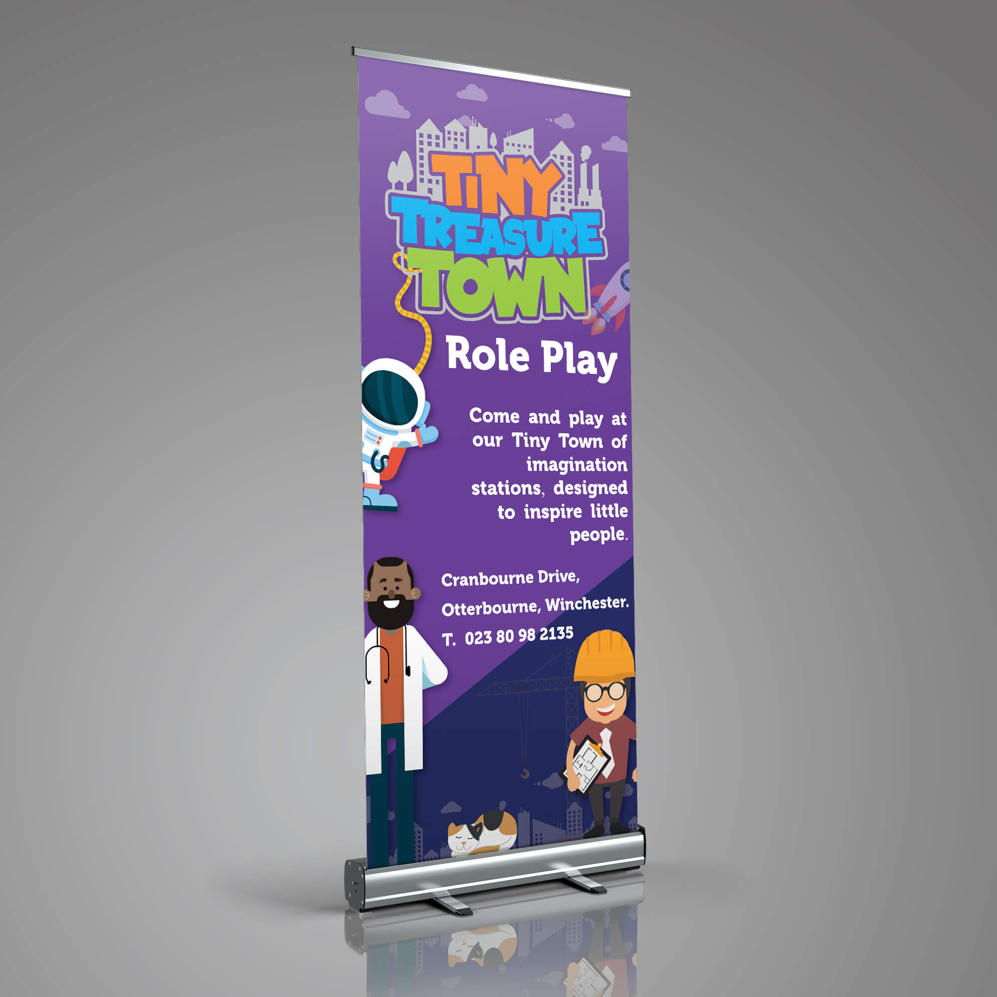 Tiny Treasure Town roll up banner design