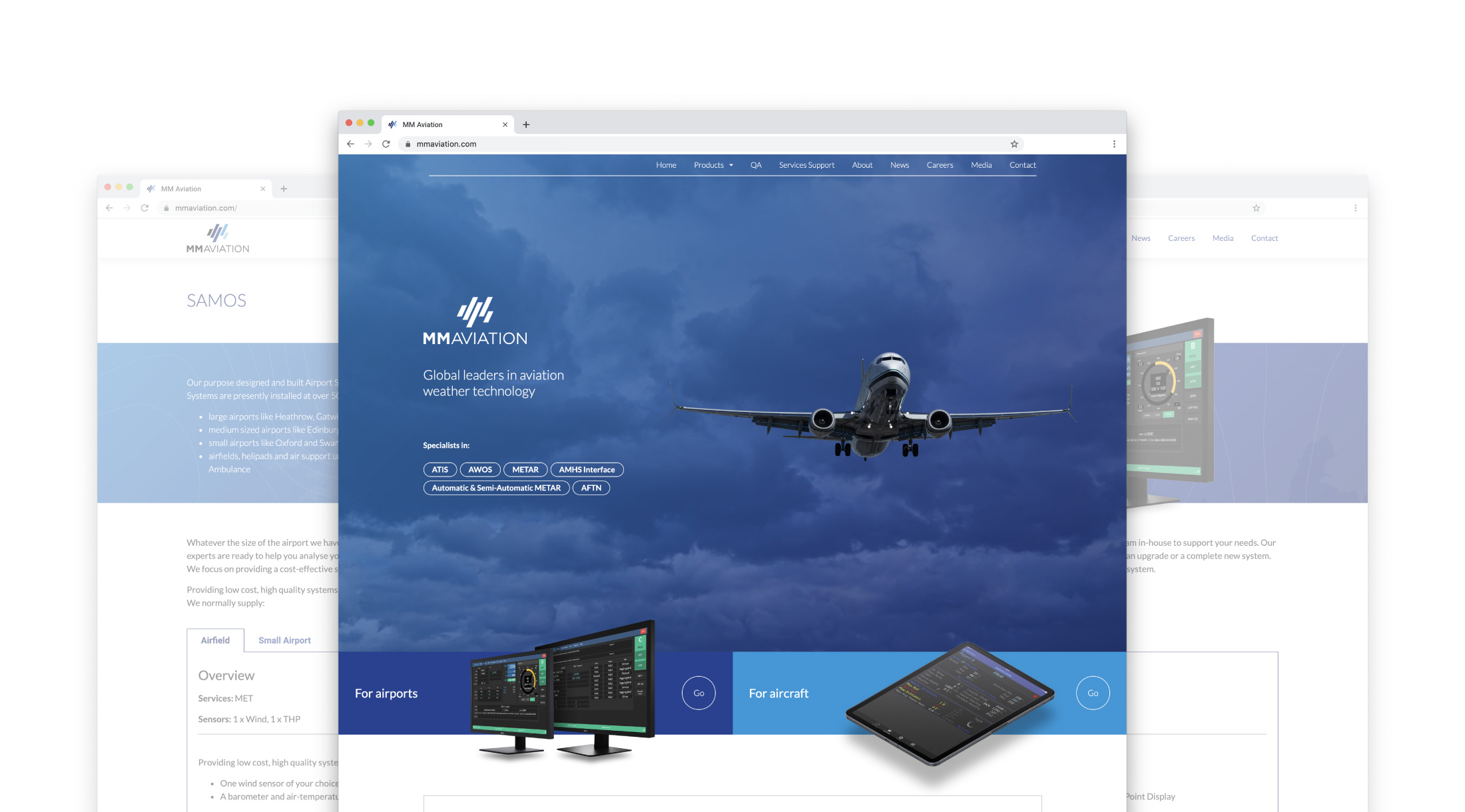 The MM Aviation site as seen on desktop