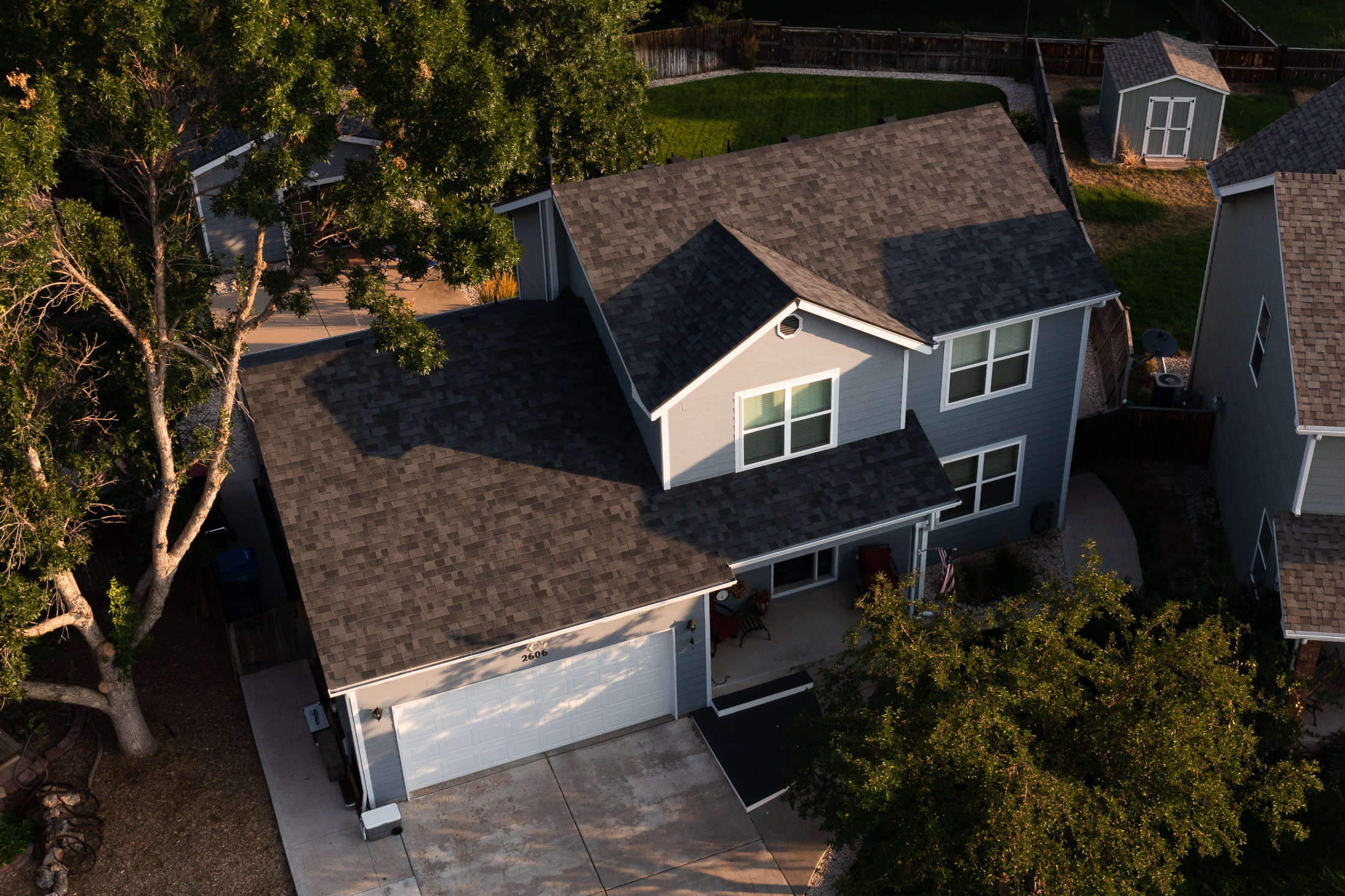 Replaced the shingle system (underlayment drip edge, flashings) with Malarkey Legacy Class IV shingles
