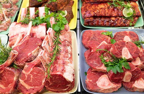 Beef cuts in butcher counter