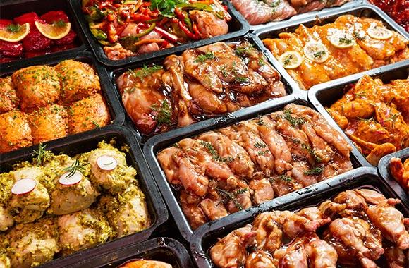 Range of marinated chicken
