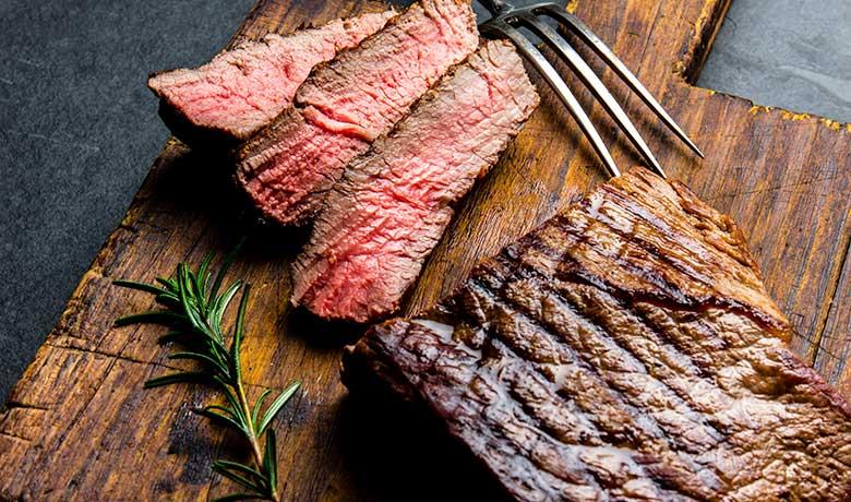 Beef steak fried medium-rare
