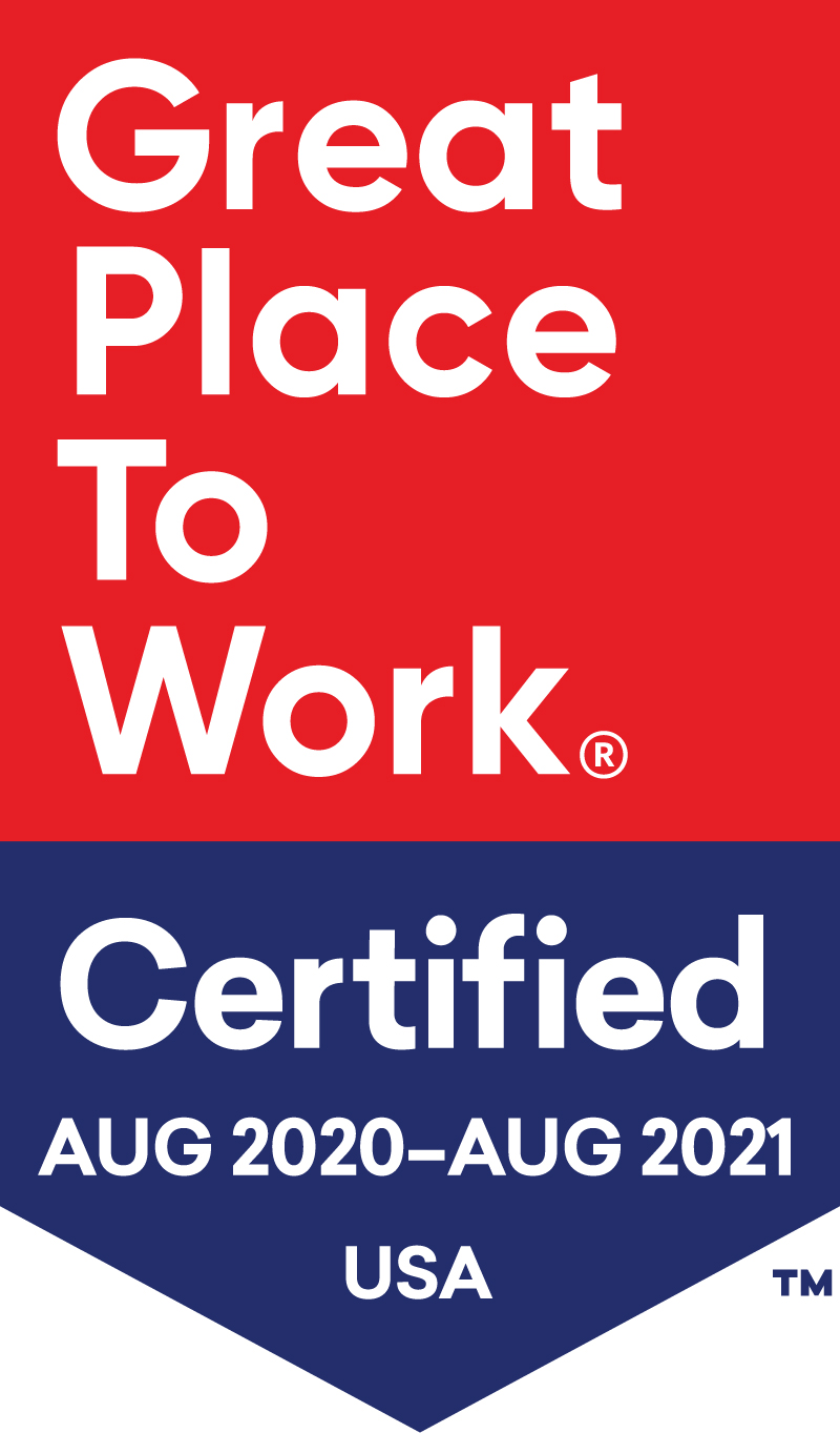 LocatorX Great Place To Work Certified badge, August 2020 through August 2021 in the USA