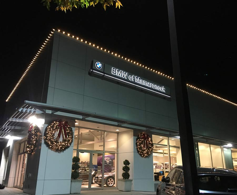 BMW of Mamaroneck decorated by NY Landscape Lighting