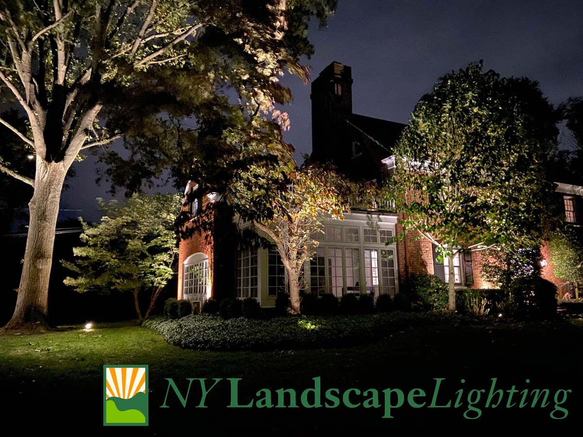 Residential home in Westchester with outdoor lighting