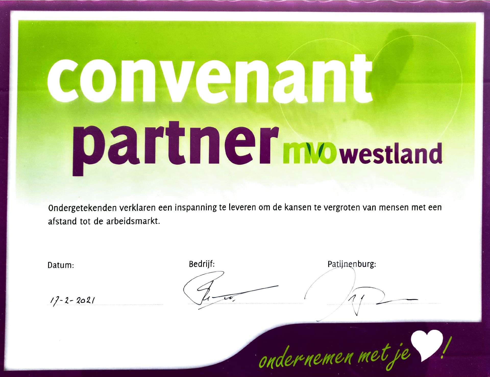 Convenant Partner MVO Westland - Industria Lighting Qualiteers
