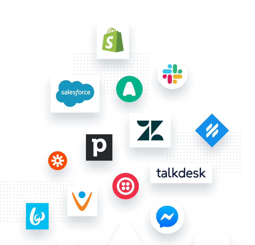 Group of shapes, each containing a company logo for Textline integration