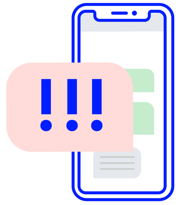 Illustrated phone with error exclamation points