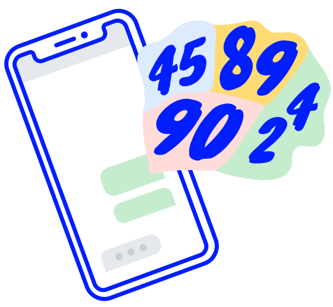 Illustrated phone with stylized stat numbers