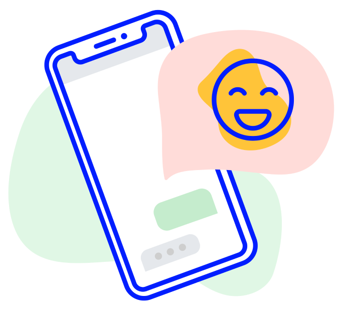 Illustrated phone with smiley face emoji