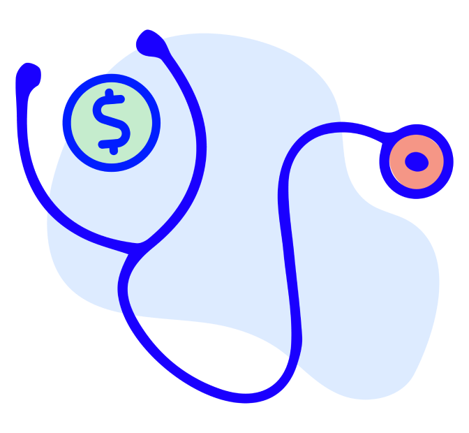 Stethoscope with money symbol