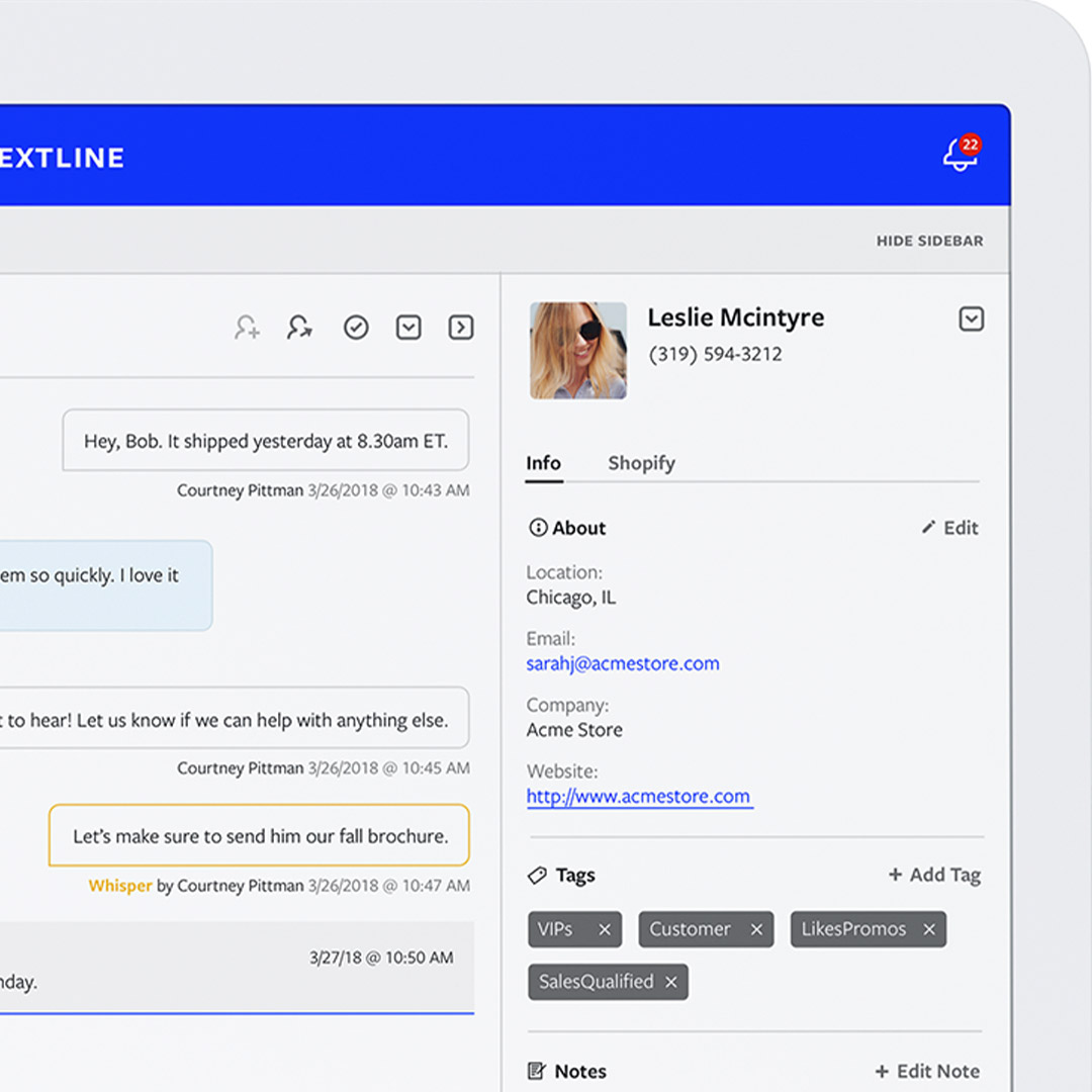 Textline interface featuring the customer information sidebar.