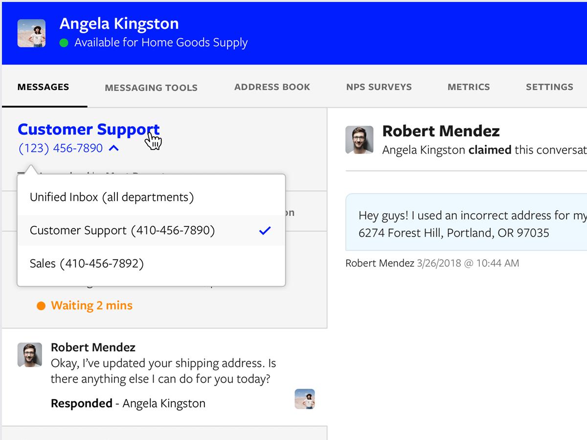 Textline application screenshot depicting department selector dropdown menu