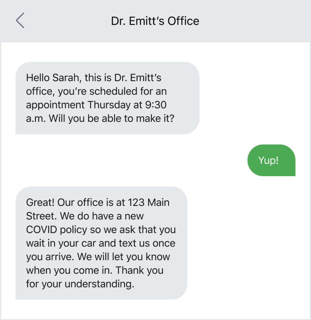 Text to confirm appointments