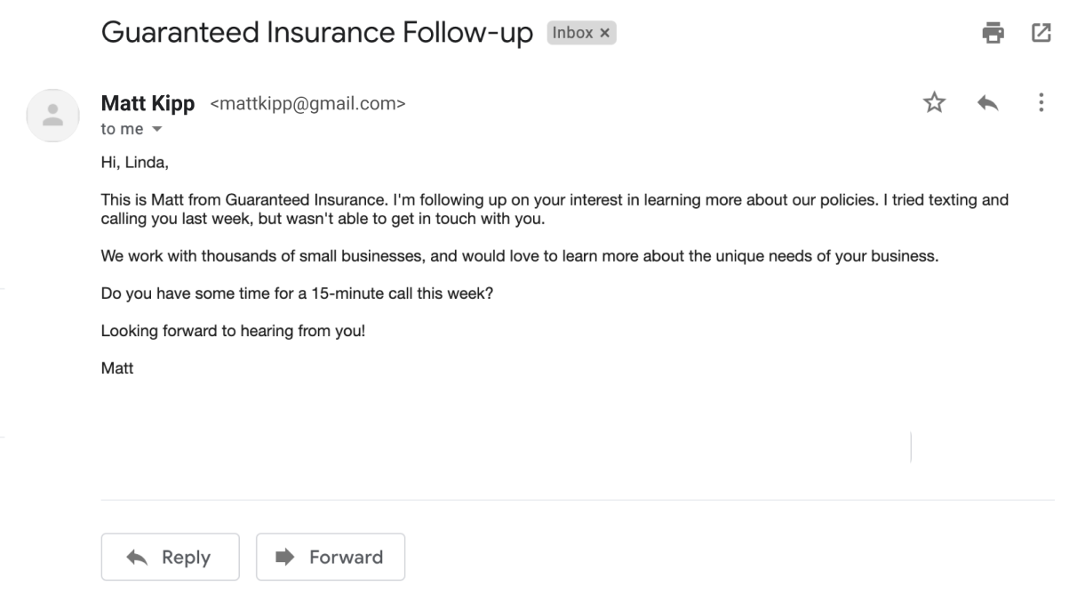 Example of an email follow-up
