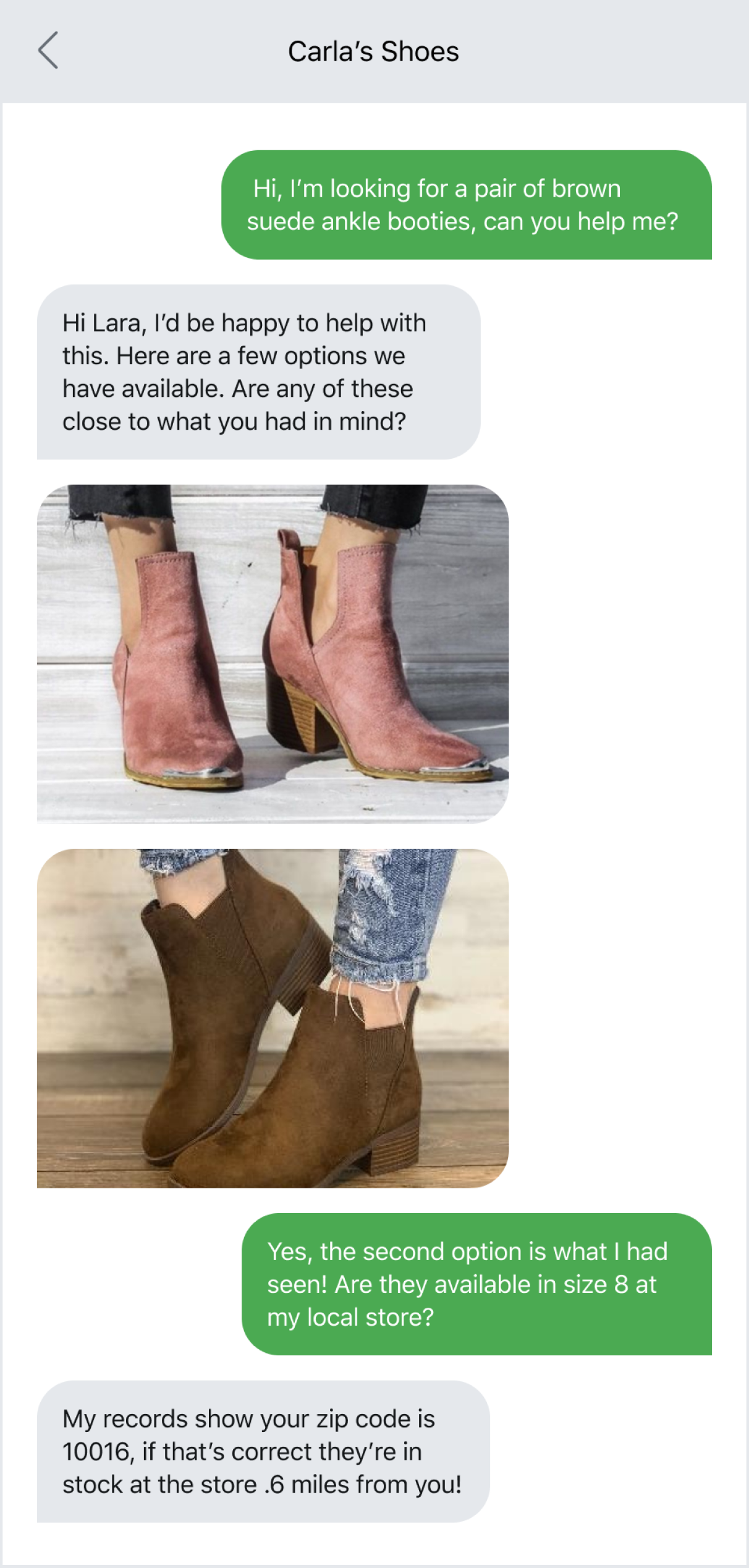 Product photos in MMS conversation