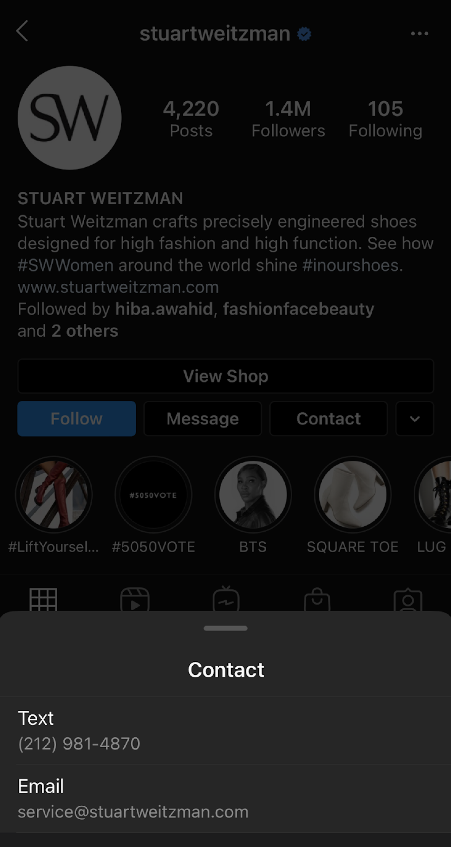 "Click to action ""text us"" button on an Instagram business profile"