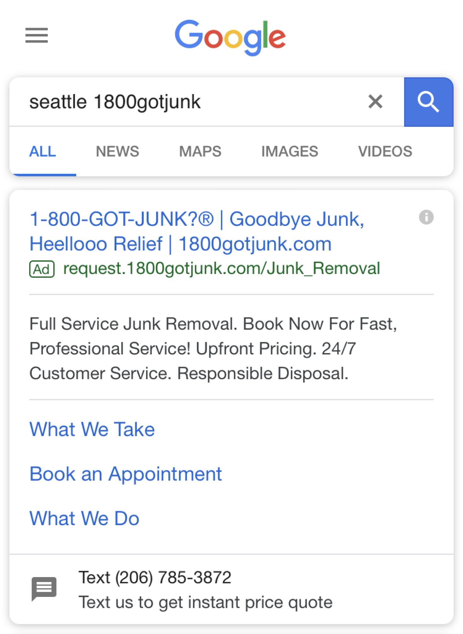 Texting number displayed in a Google advertisement
