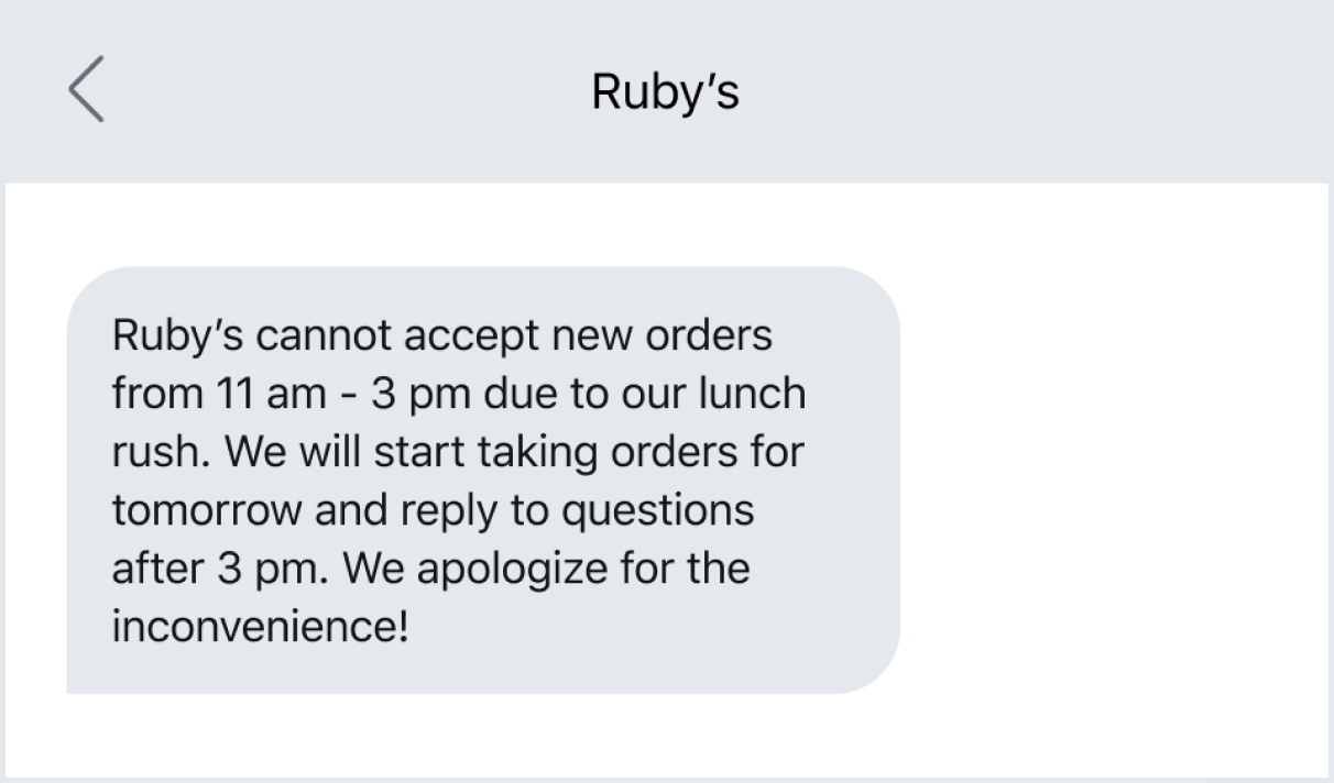 Text example of a restaurant automated message