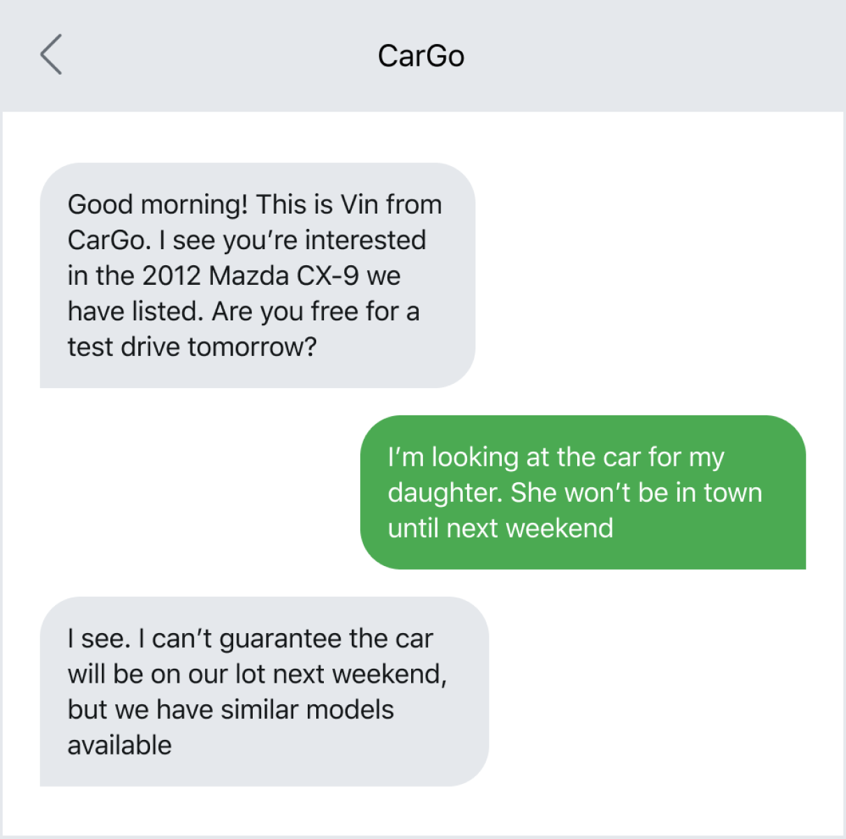 Text message example of texting a prospective customer