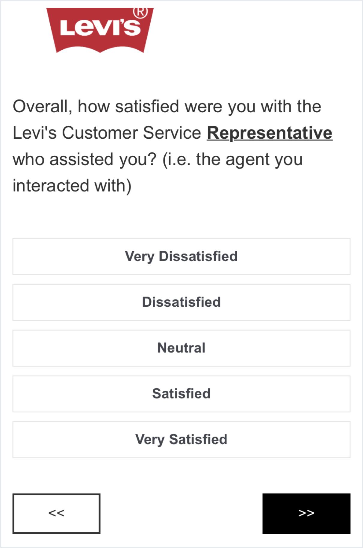 Levi's CSAT survey example