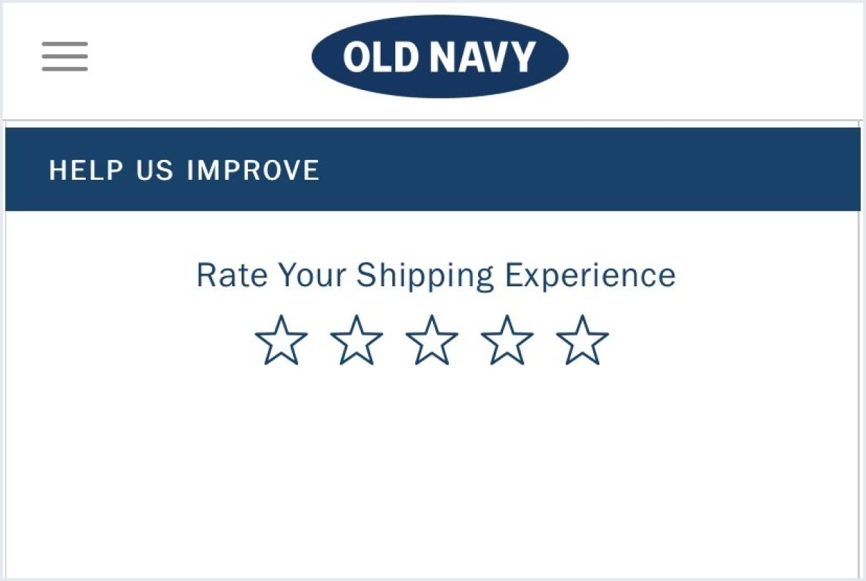 Old Navy CSAT survey example
