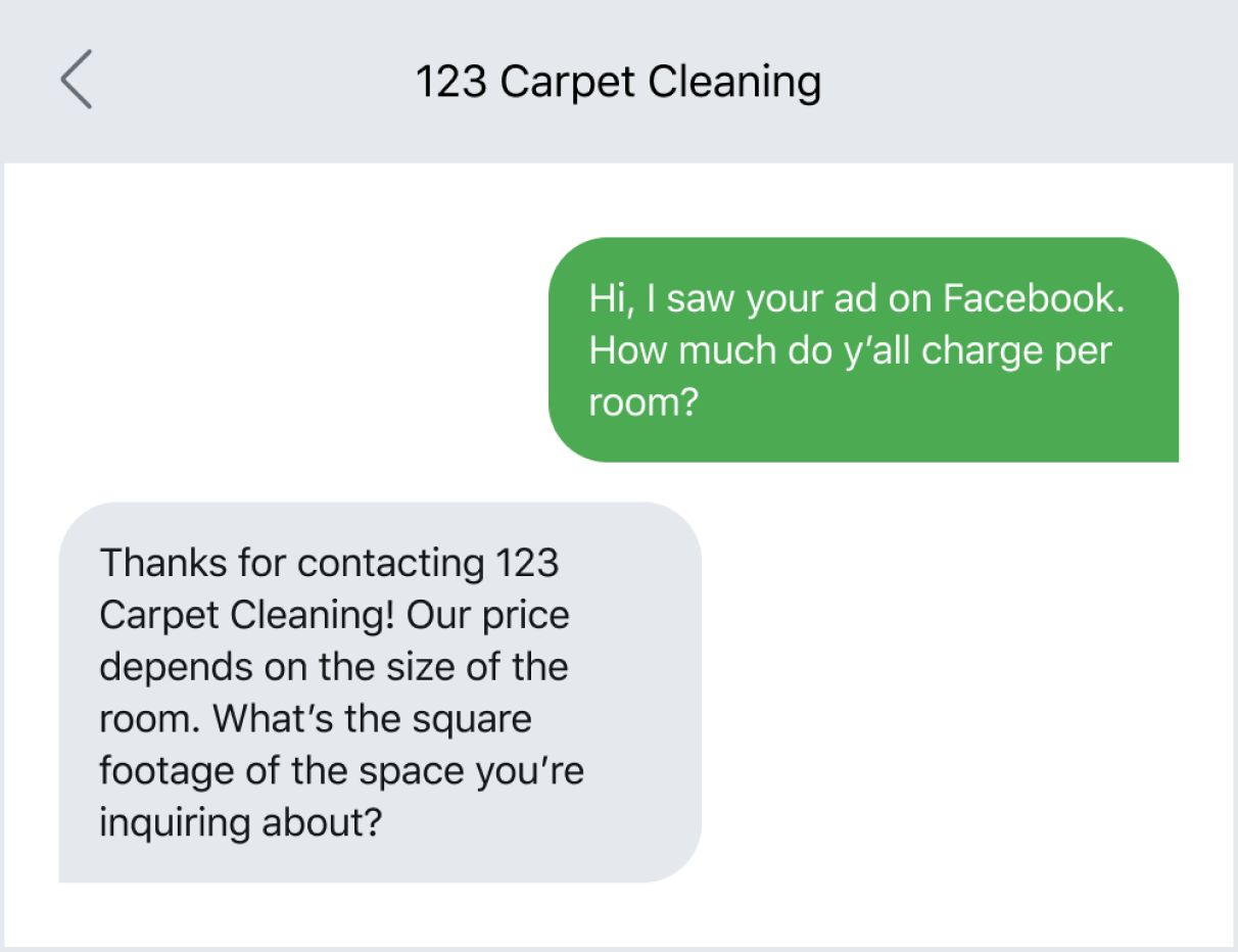 Text message example of a lead reaching out after seeing an ad