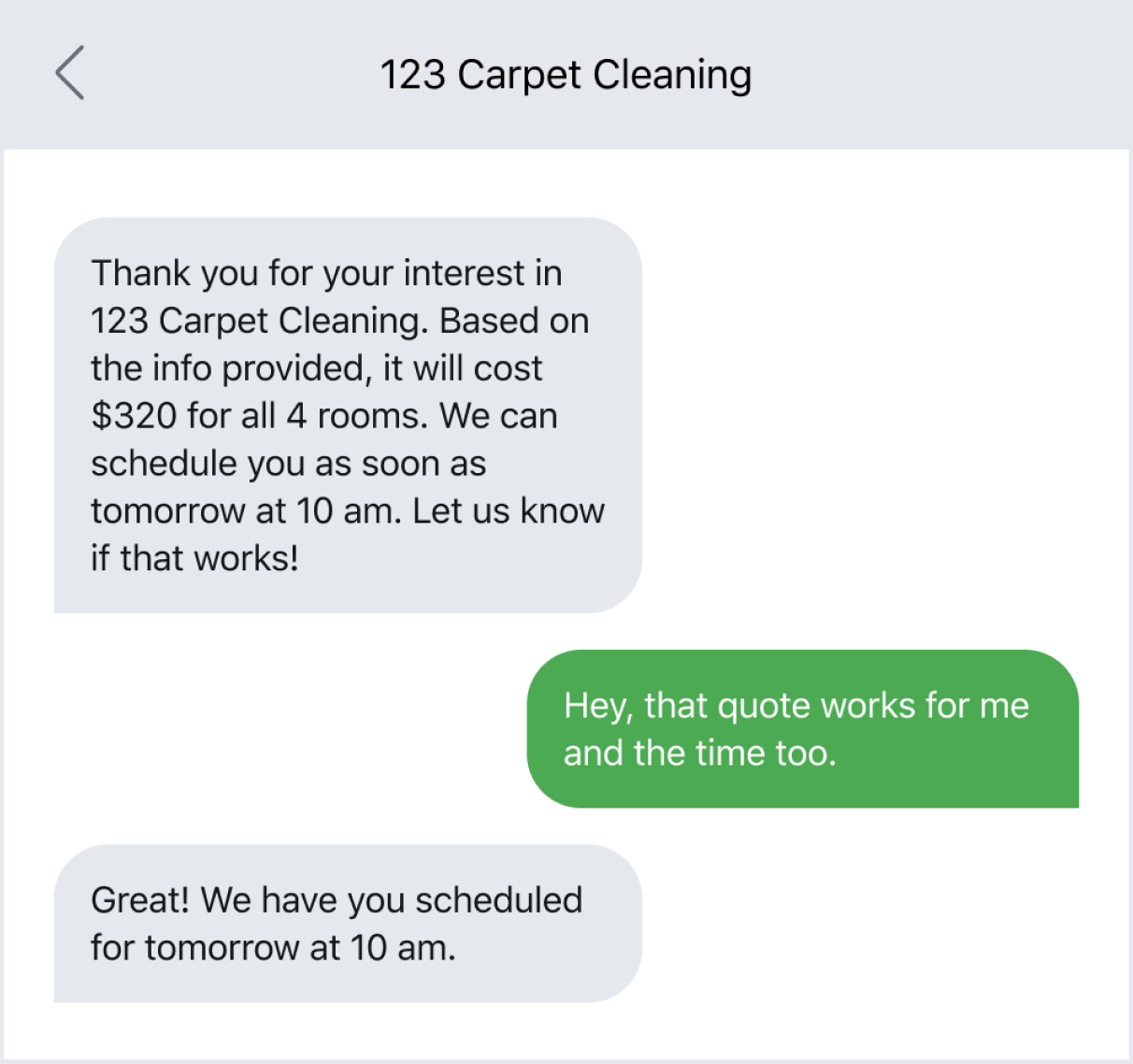 Text message example of following up with a lead after a form fill