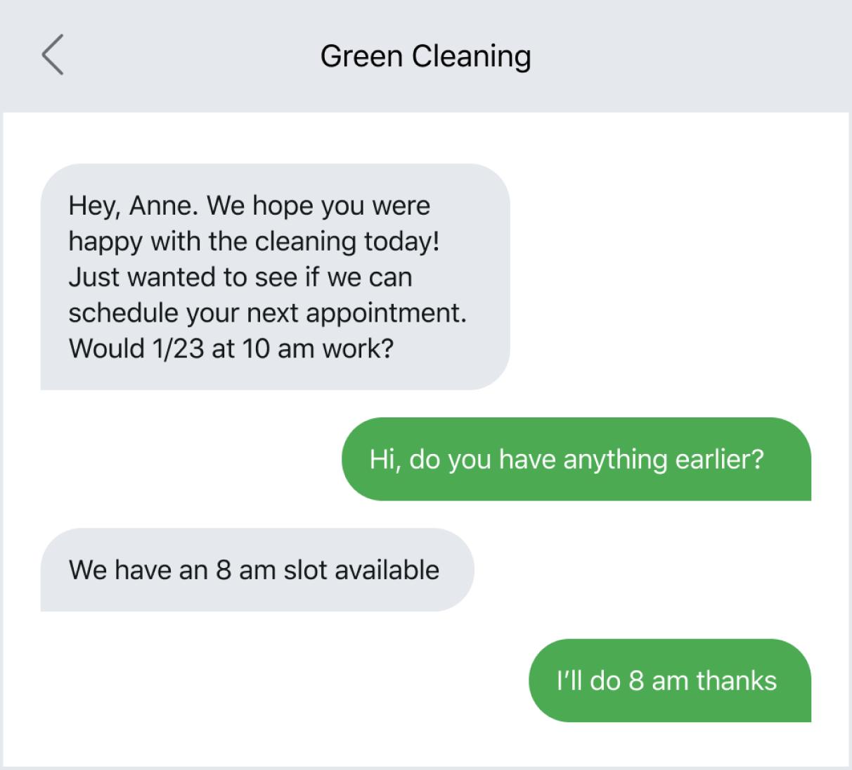 Text message example of a follow-up text conversation after an immediate service