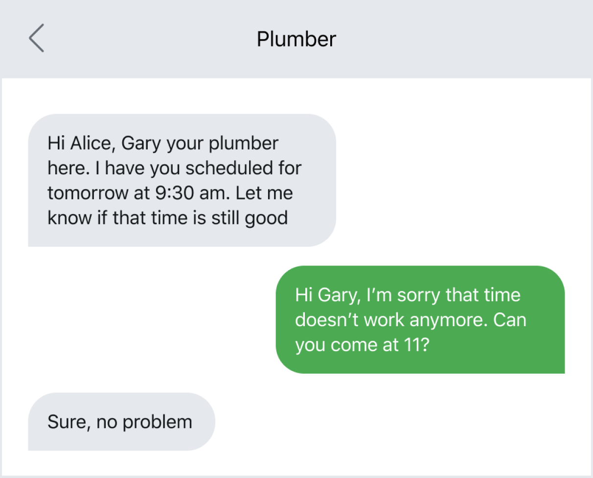Text message example of rescheduling an appointment with a lead