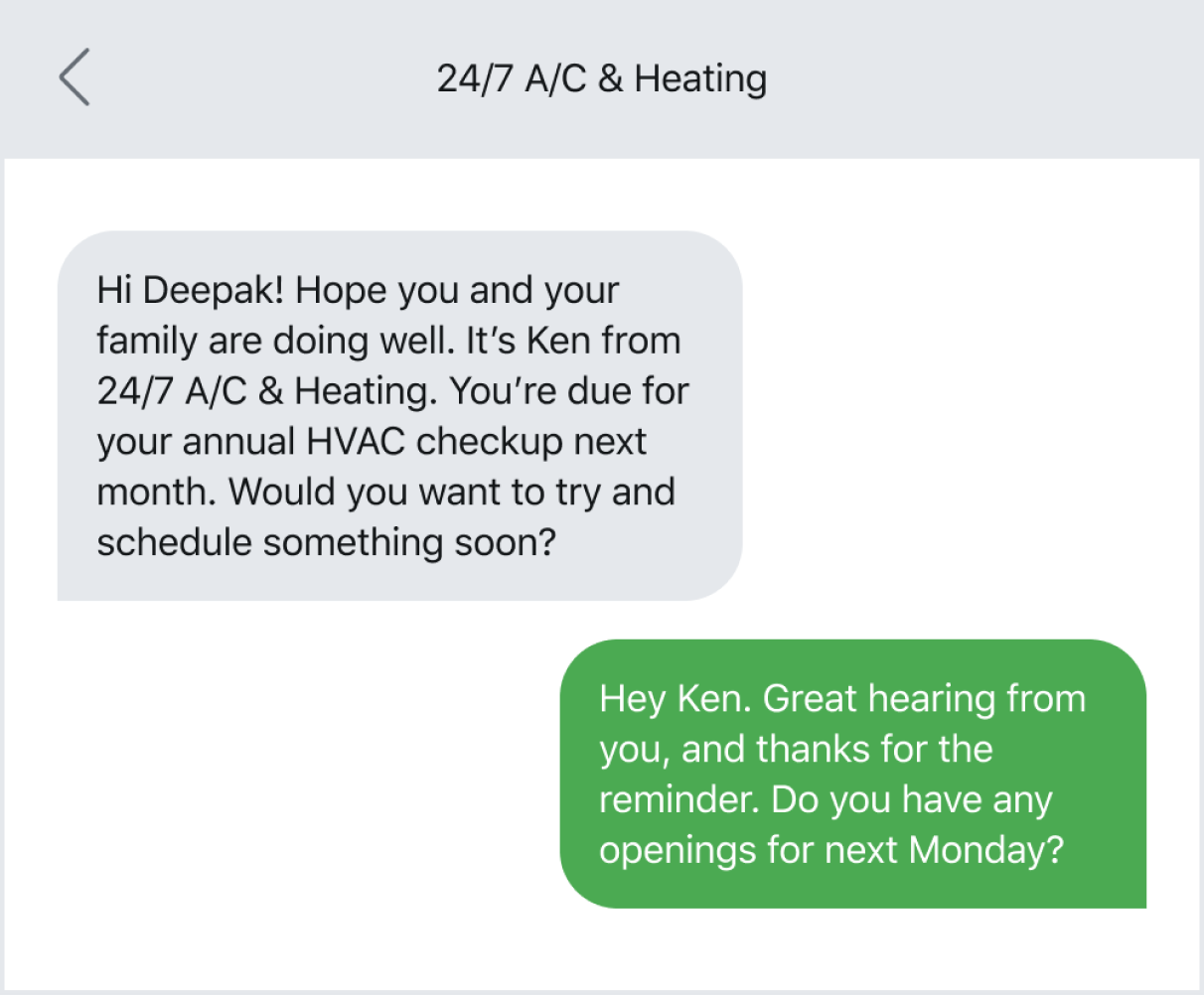 Text message example of reaching out for appointment reminders