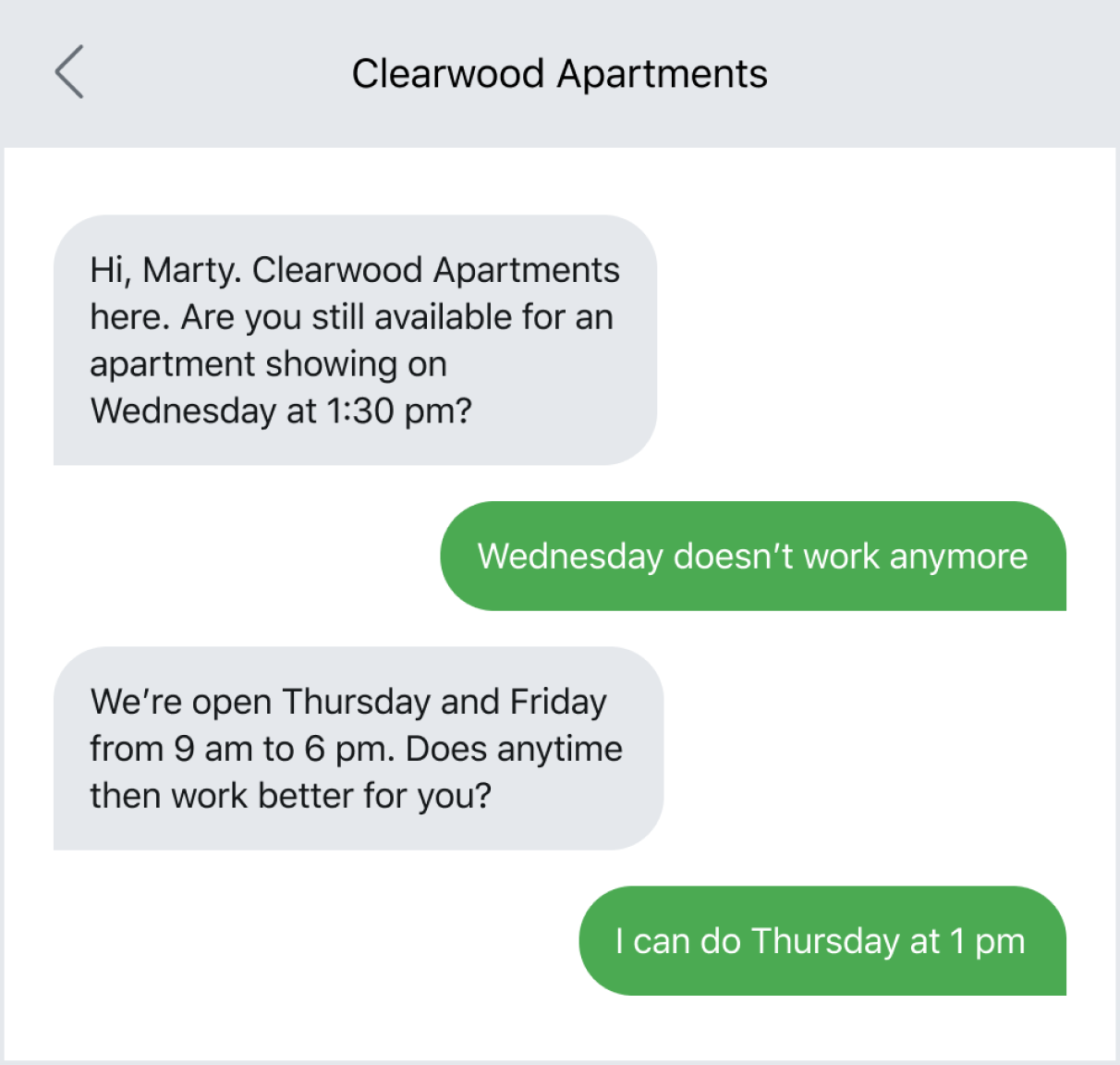 Text message example of rescheduling an appointment