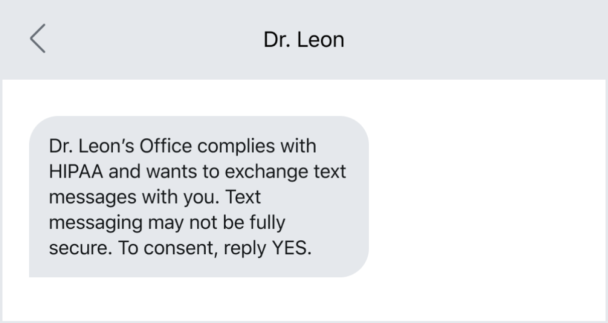 Text message example f a standard HIPAA consent request message
