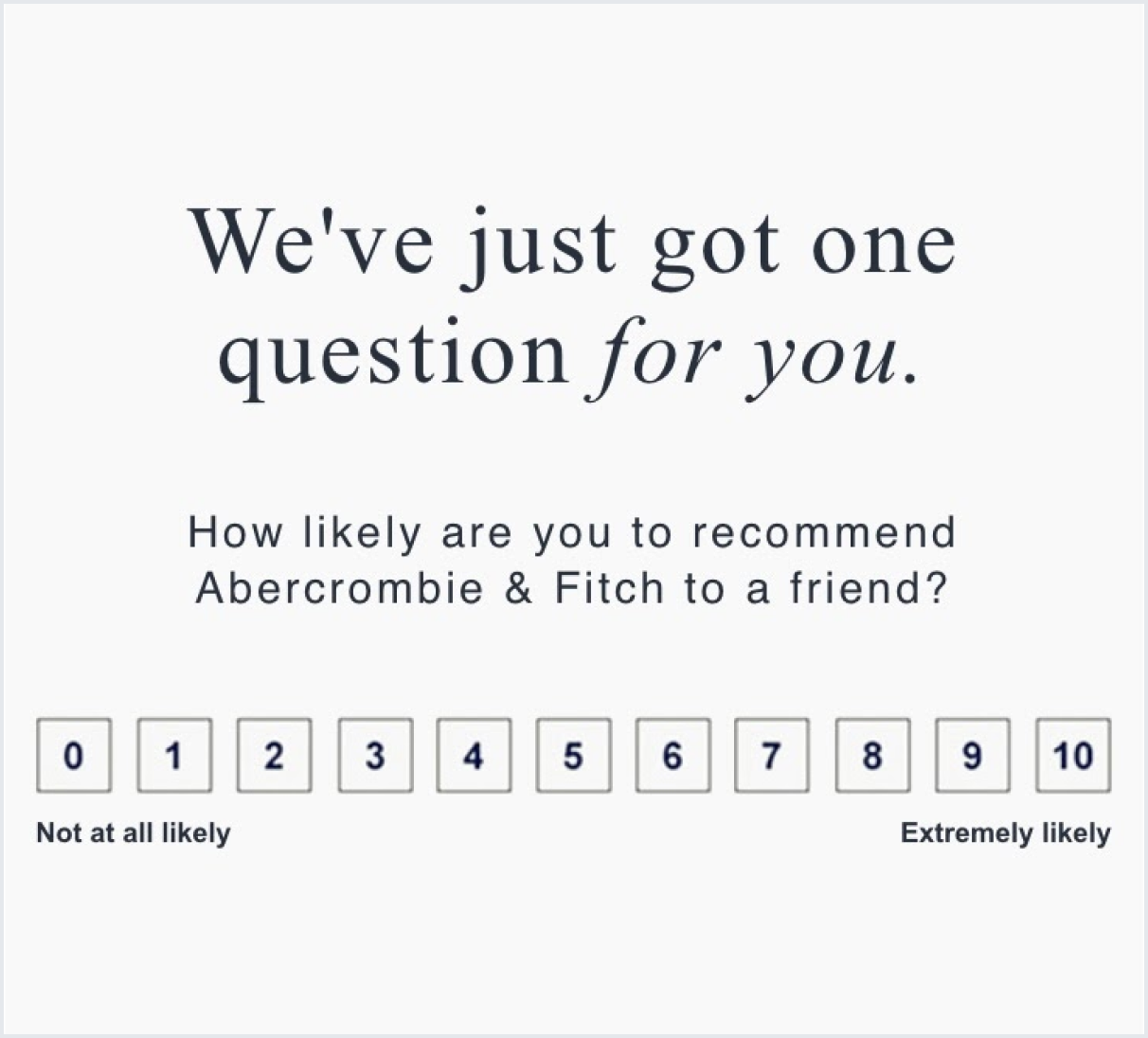 NPS survey example at Abercrombie & Fitch