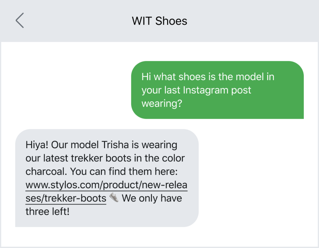 Text message example of sending someone to a link destination