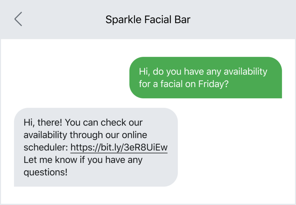 Text message example of sending a link to schedule an appointment