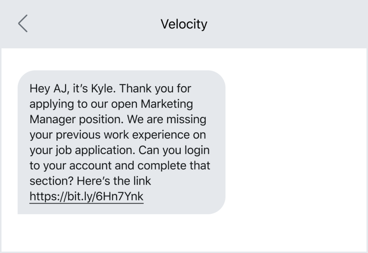Text message example of sending a follow-up with a link