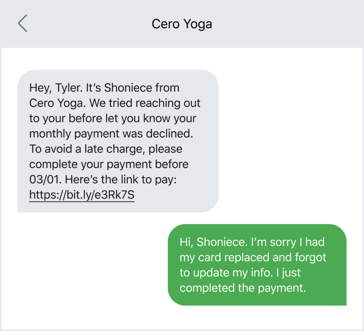 Example of sending a reminder text with a link to a payment page