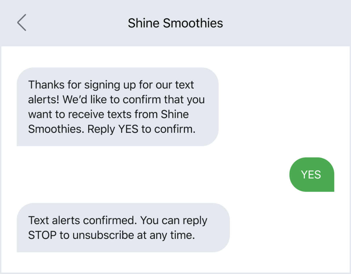 Example of receiving consent via text, a double opt-in