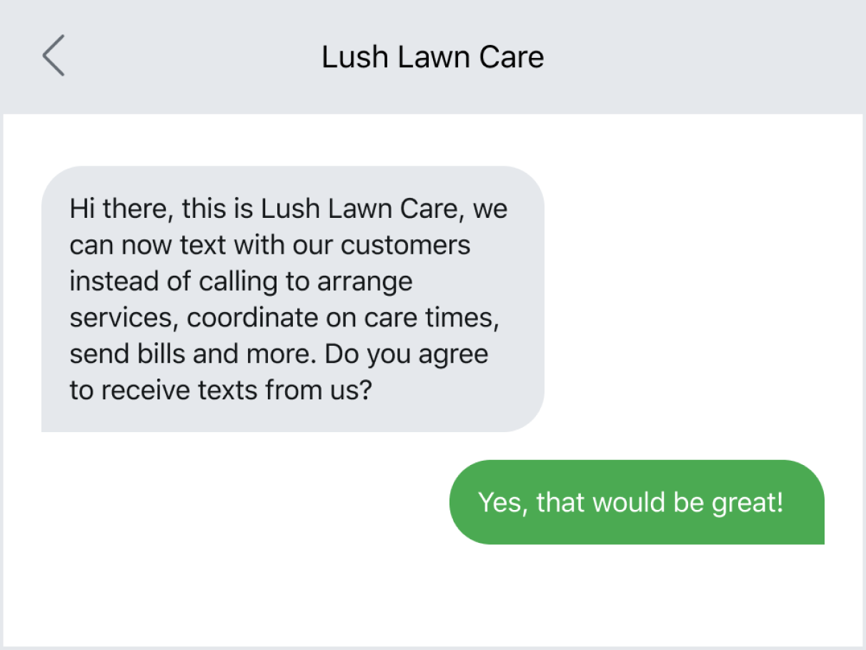 Example of asking for text consent in an initial message