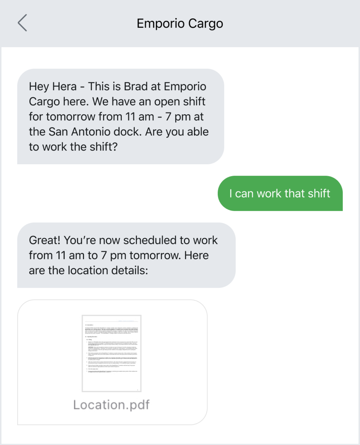 Example of sending out a last-minute text to fill a shift