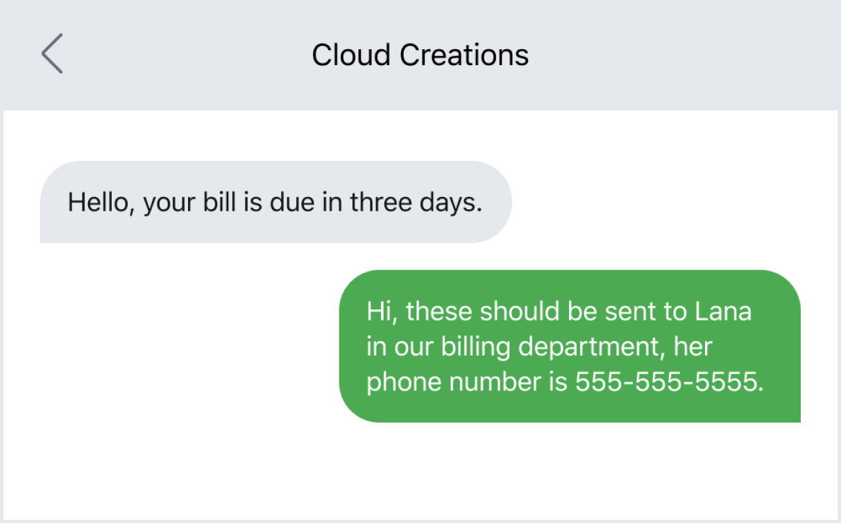 Quickly redirecting a payment via text