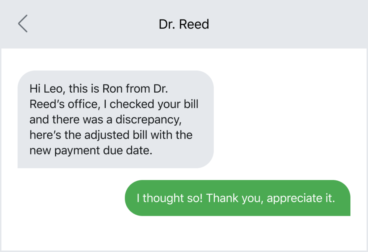 Healthcare company texting a patient about a bill issue