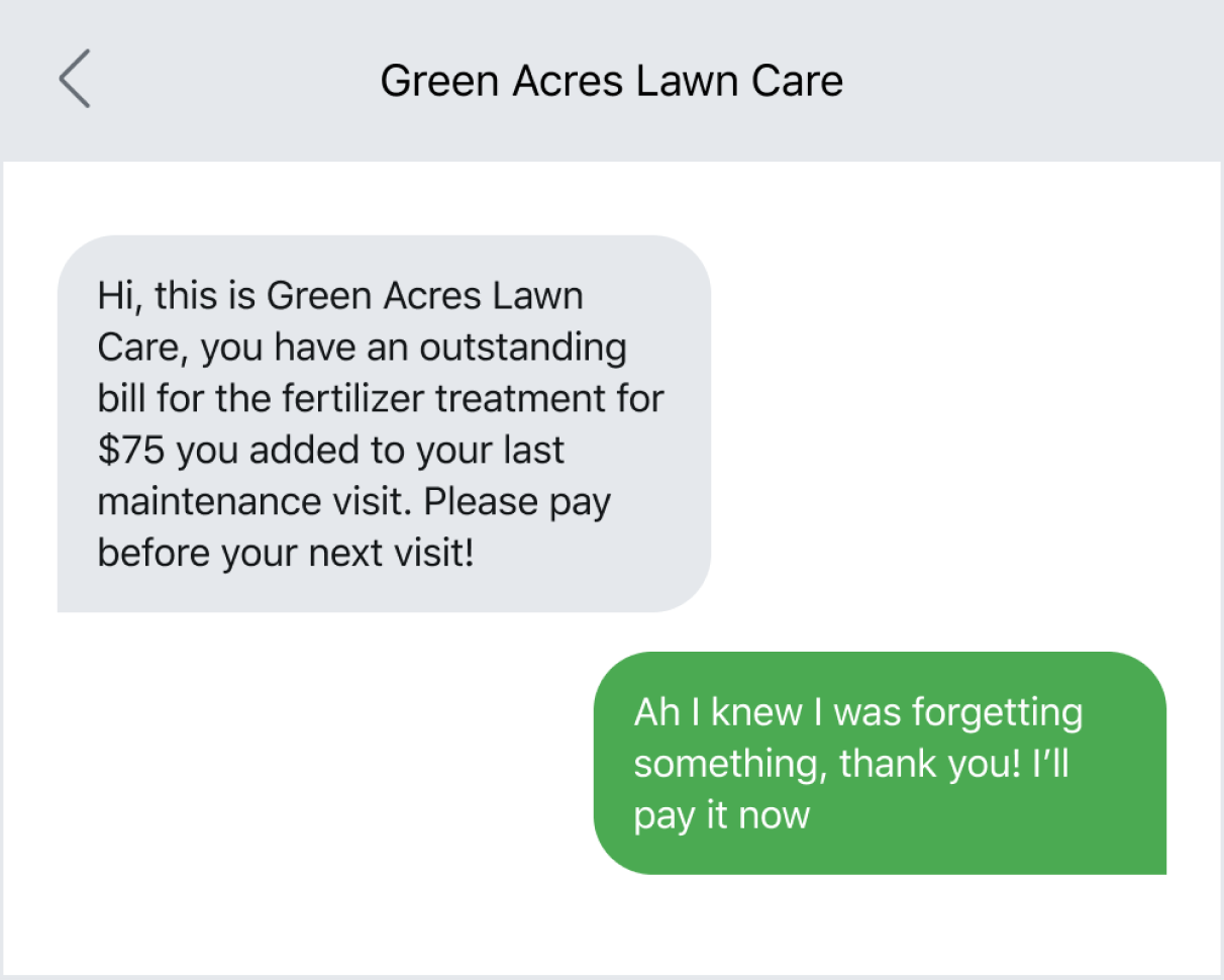 Home service business texting about a recurring payment