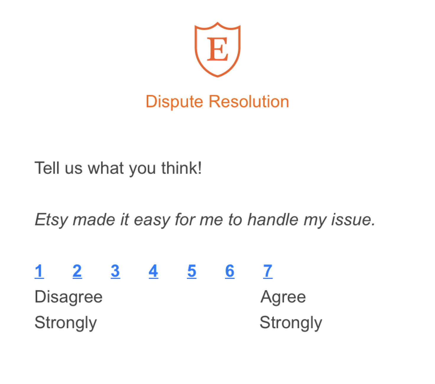 CES survey example from Etsy