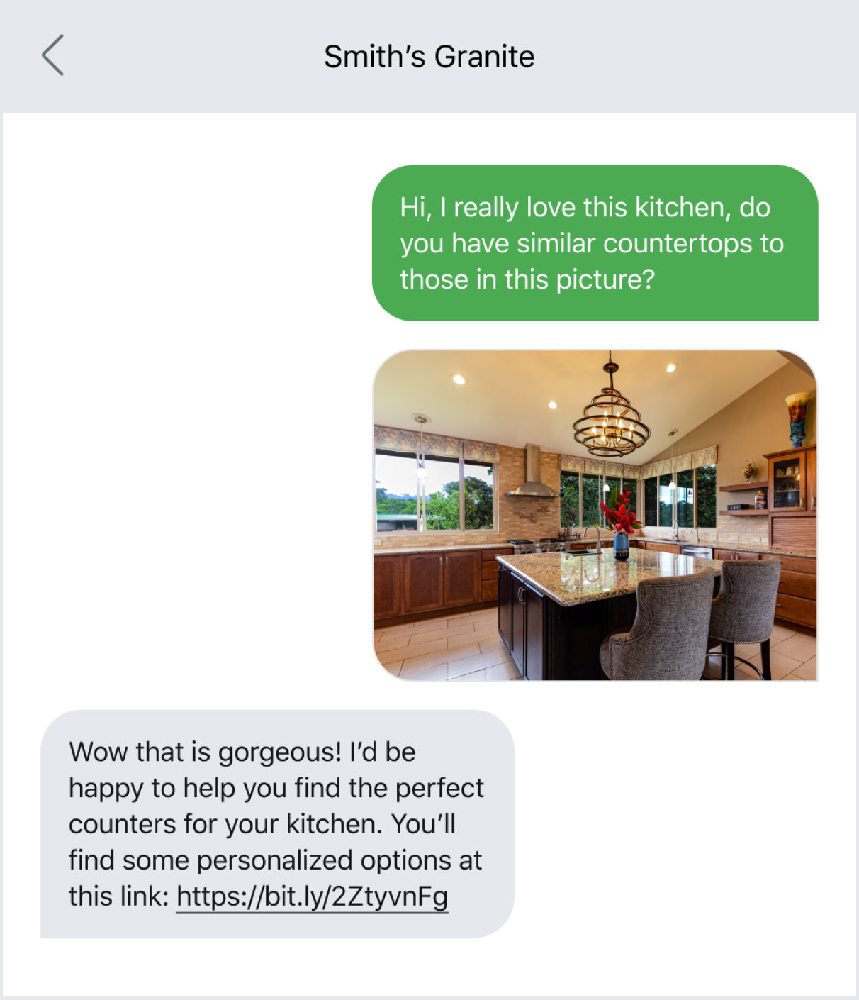 Text message example of personalizing the customer experience