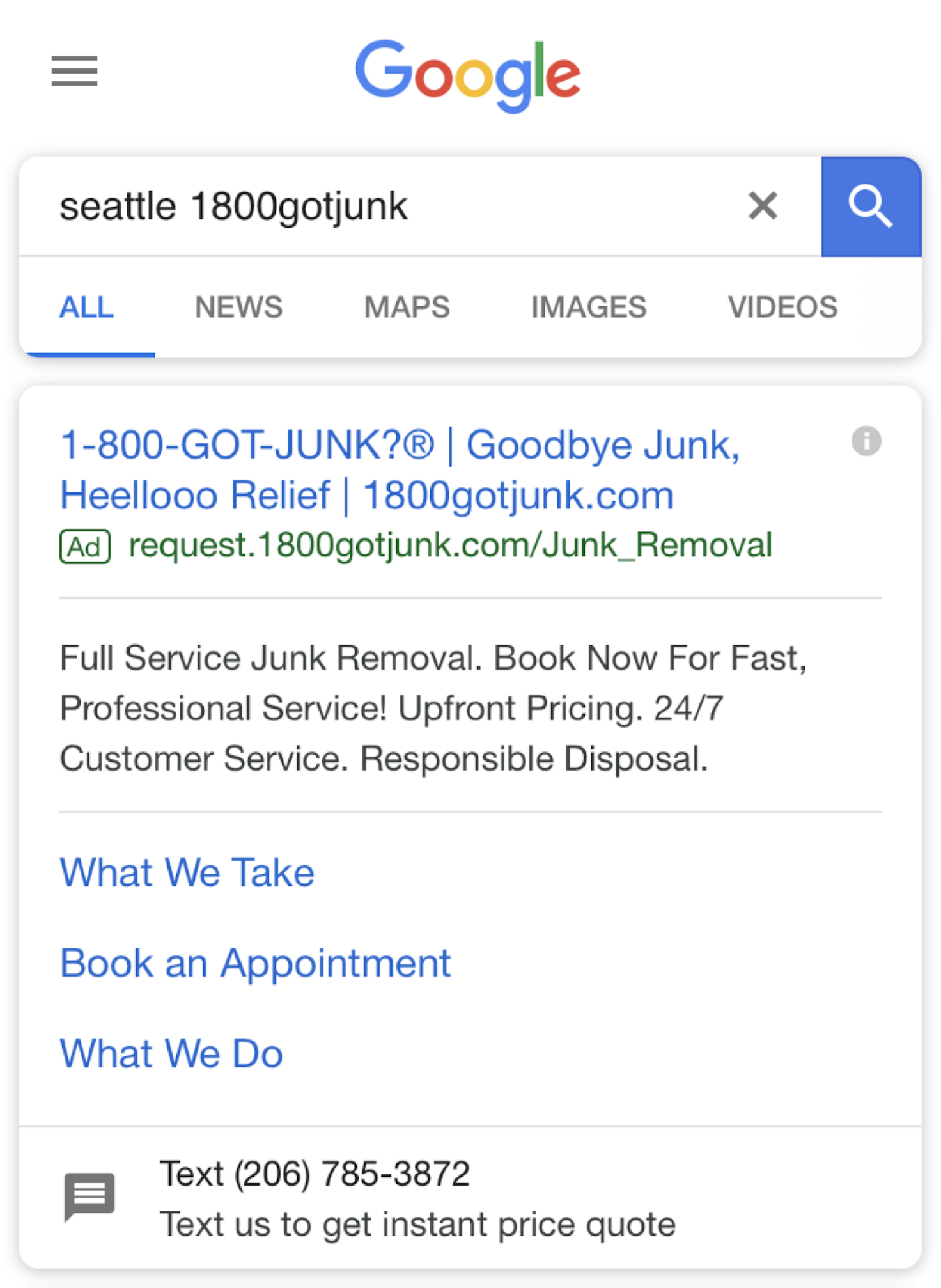 Using a business text message in a Google ad